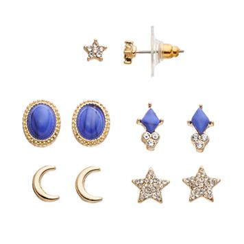 LC Lauren Conrad Blue Star, Crescent & Oval Stud Earring Set