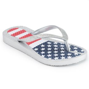 Girls 4-16 American Flag Flip Flops