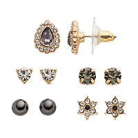 LC Lauren Conrad Black Flower & Teardrop Stud Earring Set