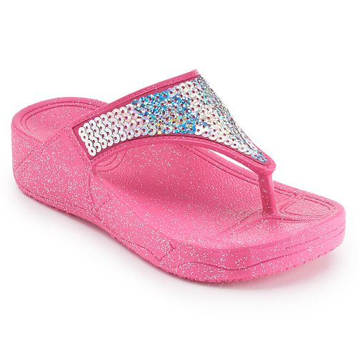 Girls 4-16 Sequin Wedge Jelly Flip Flops