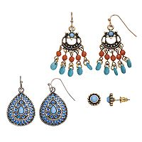 Mudd® Antiqued Teardrop, Beaded Chandelier & Round Earring Set