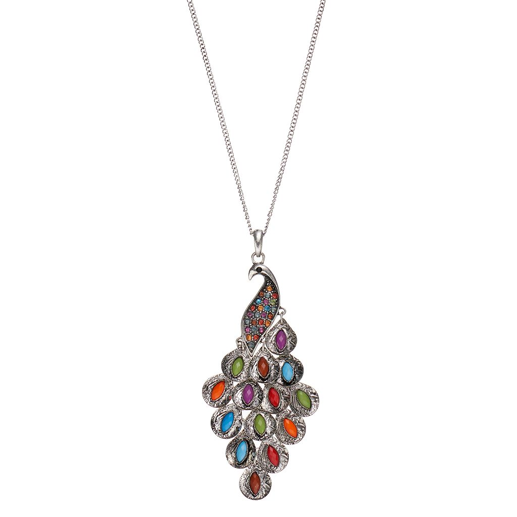 Mudd® Long Peacock Pendant Necklace