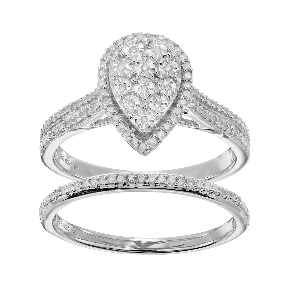 Sterling Silver 1/4 Carat T.W. Diamond Pear Halo Engagement Ring Set