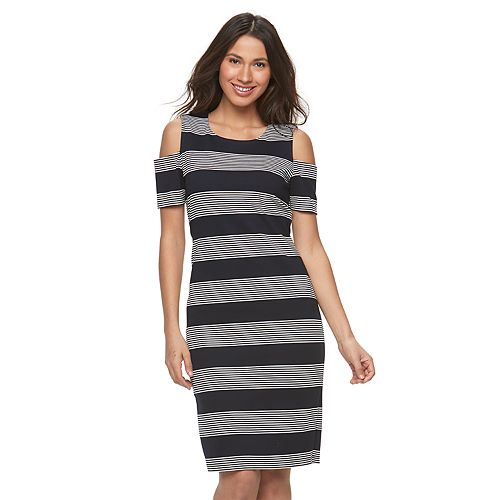 Women's Ronni Nicole Striped Cold-Shoulder Sheath Dress