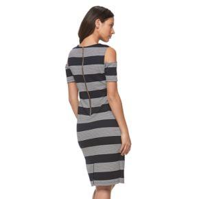 Women's Ronni Nicole Striped Cold-Shoulder Sheath Dress