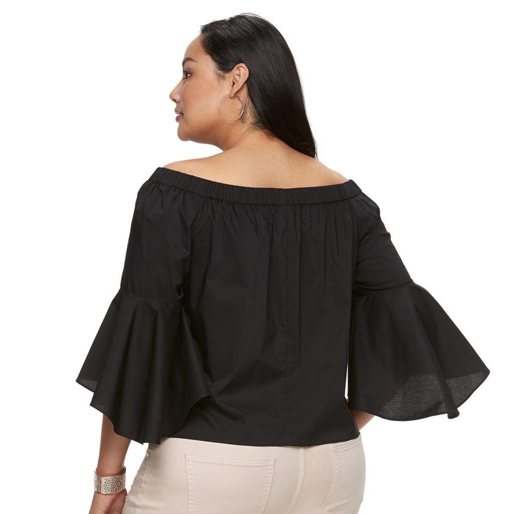 Plus Size Jennifer Lopez Solid Off-the-Shoulder Top