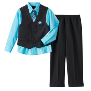 Boys 4-20 Van Heusen Pinstriped Vest 4-Piece Set