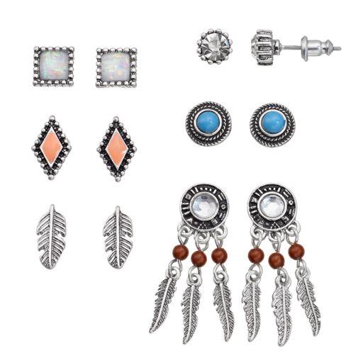 Mudd® Feather, Dream Catcher & Geometric Earring Set