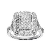Sterling Silver 3/4 Carat T.W. Diamond Rectangle Ring