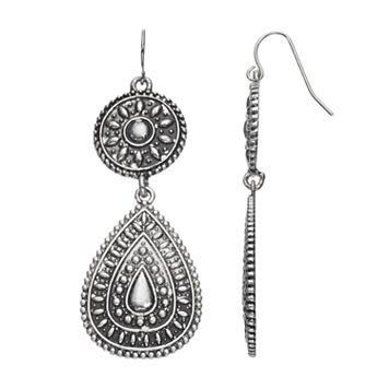 Mudd® Antiqued Medallion & Teardrop Earrings