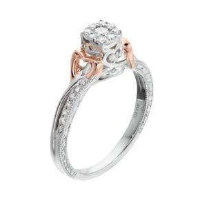 Two Tone Sterling Silver 1/4 Carat T.W. Diamond Halo Promise Ring