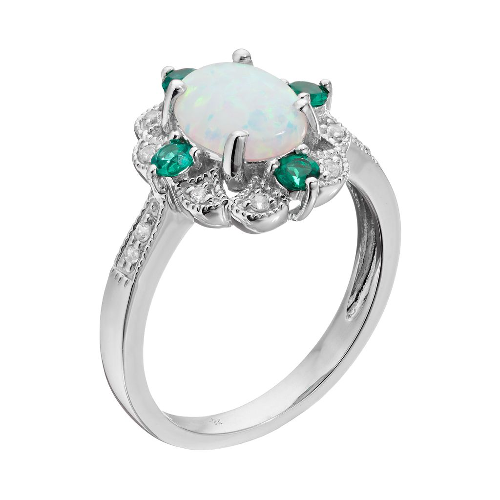 Sterling Silver Lab-Created Opal Scalloped Ring