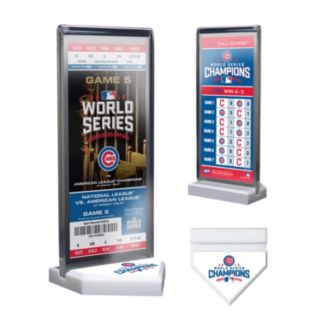 Chicago Cubs 2016 World Series Champions Home Plate Ticket Display Stand with Commemorative Ticket