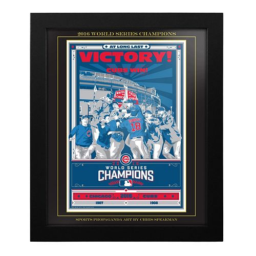 Chicago Cubs 2016 World Series Champions Framed Screen Print By Sports Propaganda