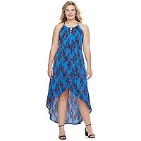 Juniors' Plus Size Candie's® Print Petal Hem Halter Dress