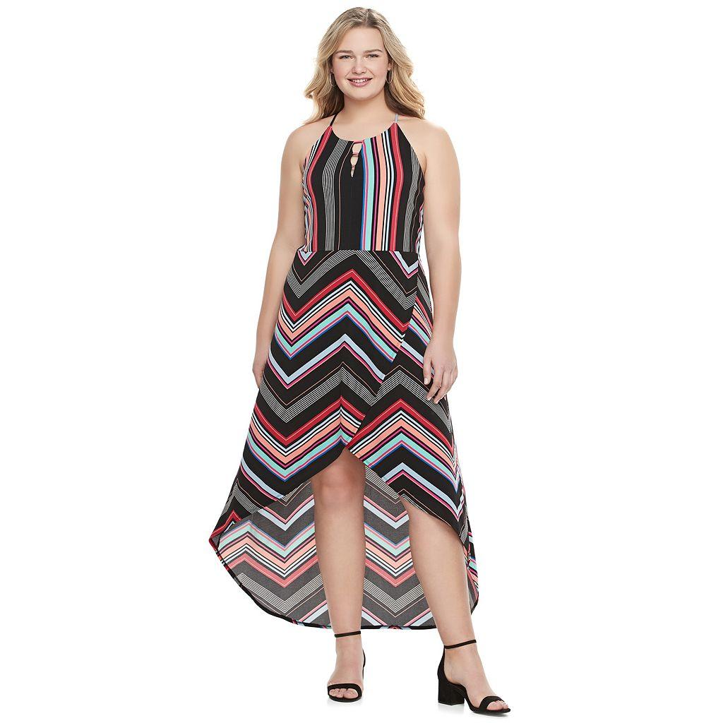 Juniors' Plus Size Candie's® Print Petal Hem Halter Dress