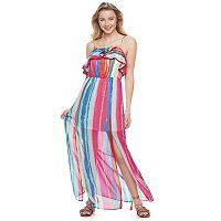 Juniors' Candie's® Print Ruffle Maxi Dress