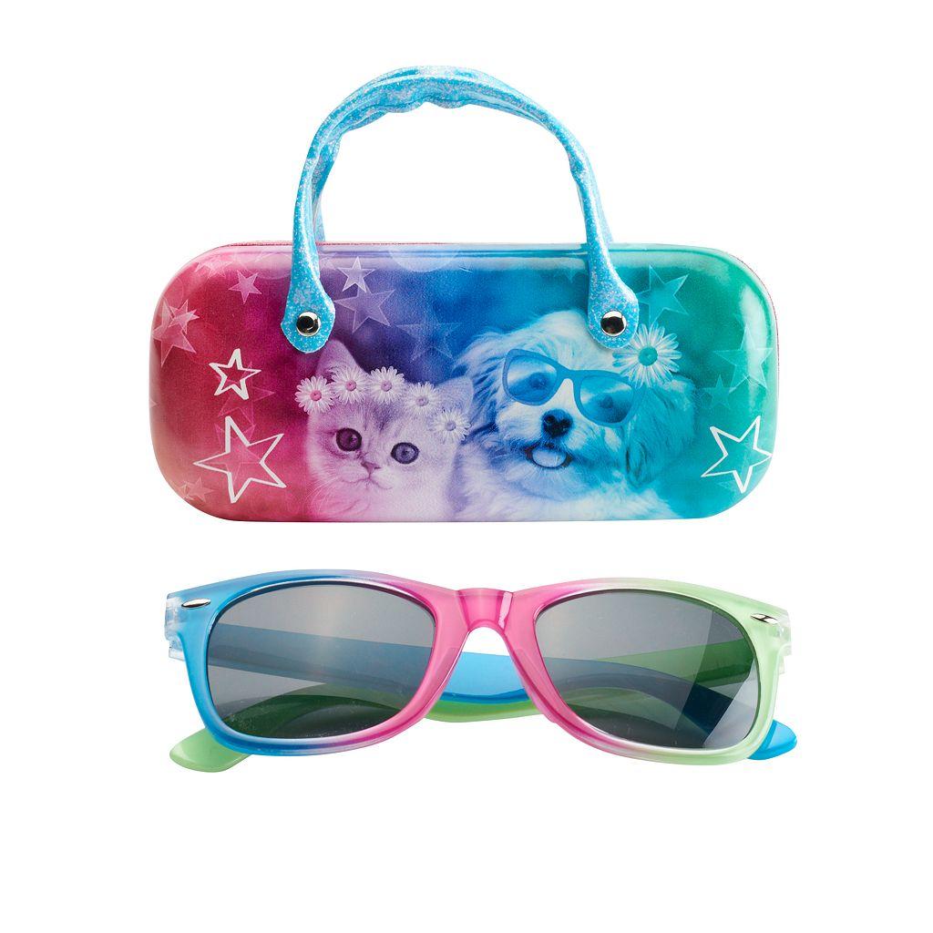 Girls 5-16 Rainbow Sunglasses & Hard Case Set