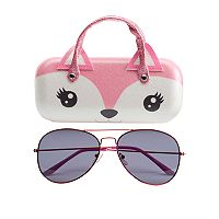 Girls 5-16 Aviator Sunglasses & Fox Hard Case Set