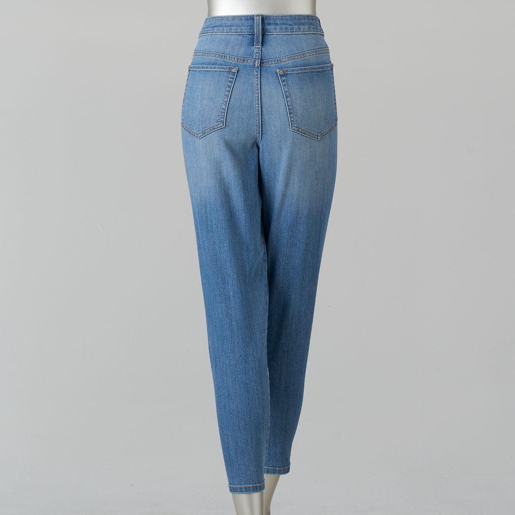 Petite Simply Vera Vera Wang Shadow Patch Straight-Leg Jeans