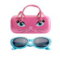 Girls 5-16 Cat Sunglasses & Hard Case Set