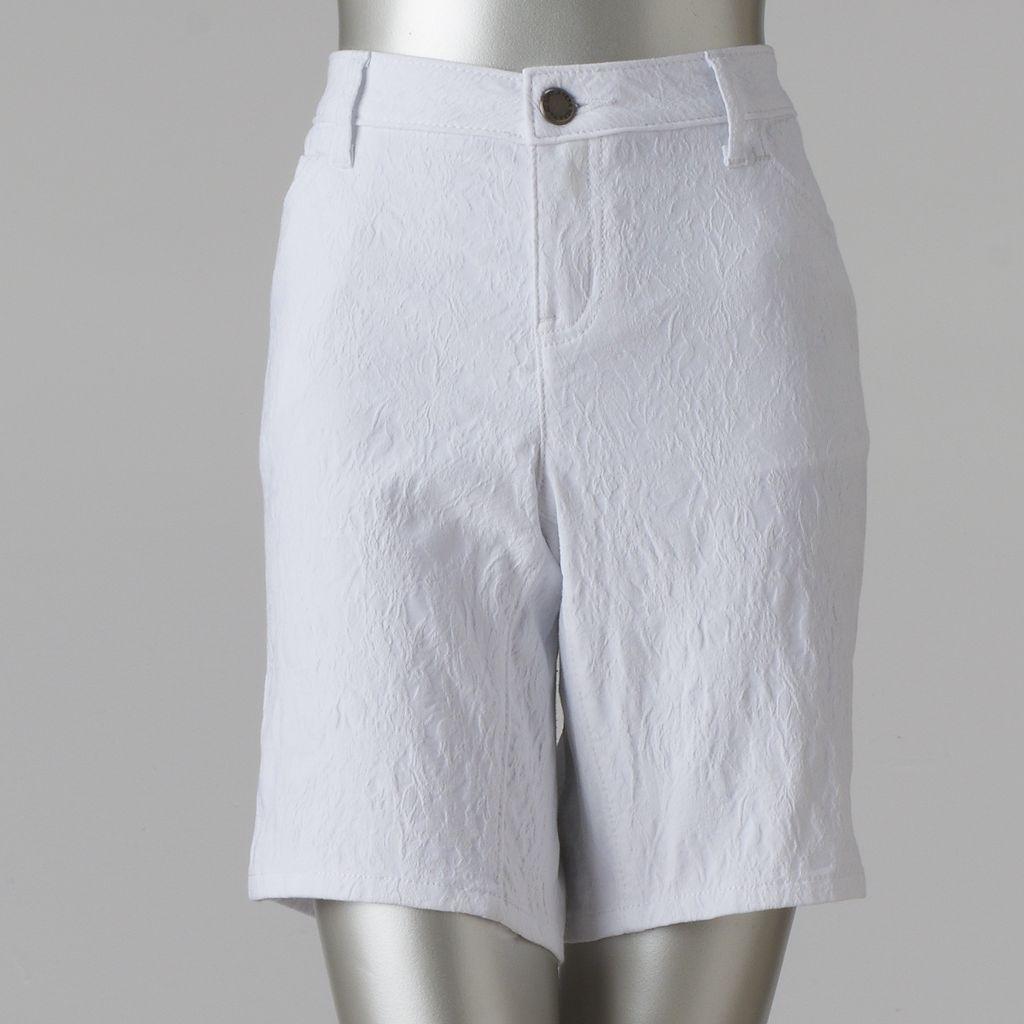 Petite Simply Vera Vera Wang Floral Jacquard Bermuda Shorts