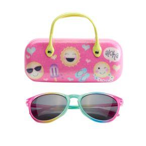 Girls 5-16 Emoji Sunglasses & Hard Case Set
