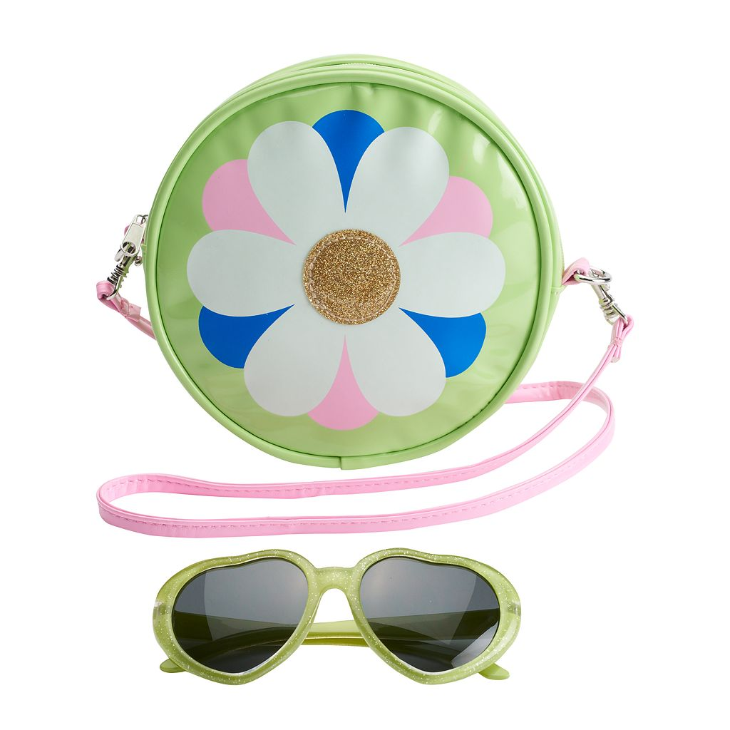 Girls 4-16 Flower Crossbody Bag & Sunglasses Set