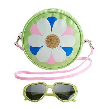 Girls 4-16 Flower Crossbody Bag & Sunglasses Set