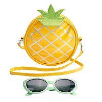 Girls 4-16 Pineapple Crossbody Bag & Sunglasses Set