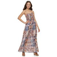 Juniors' Mason & Belle Smocked Halter Maxi Dress