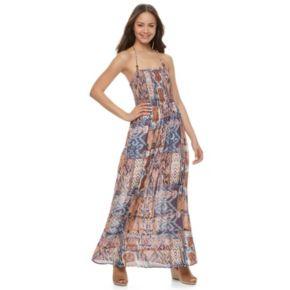 Juniors' Mason & Belle Smocked Halter Maxi Dress