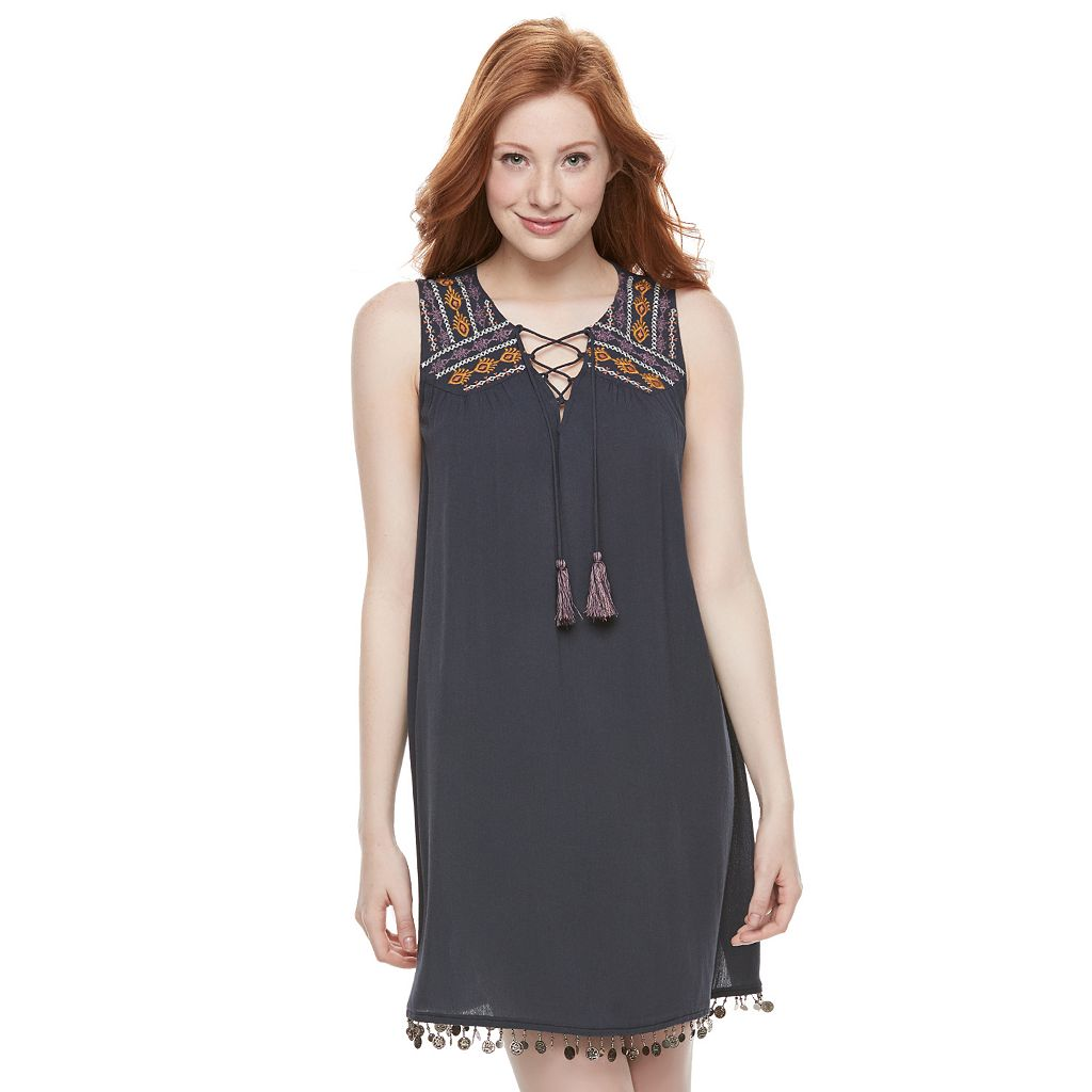 Juniors' Mason & Belle Embroidered Coin Trim Shift Dress