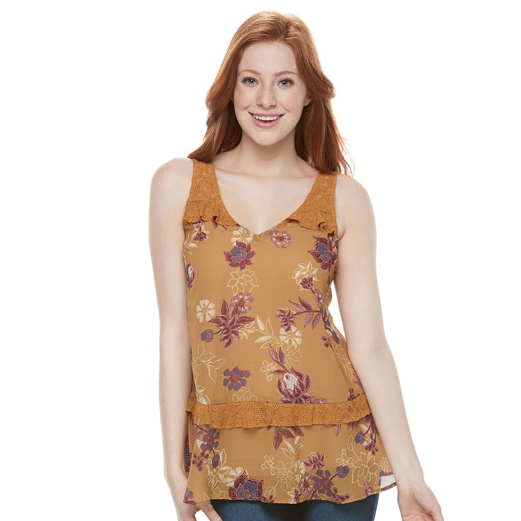 Juniors' Mason & Belle Floral Crochet Tunic