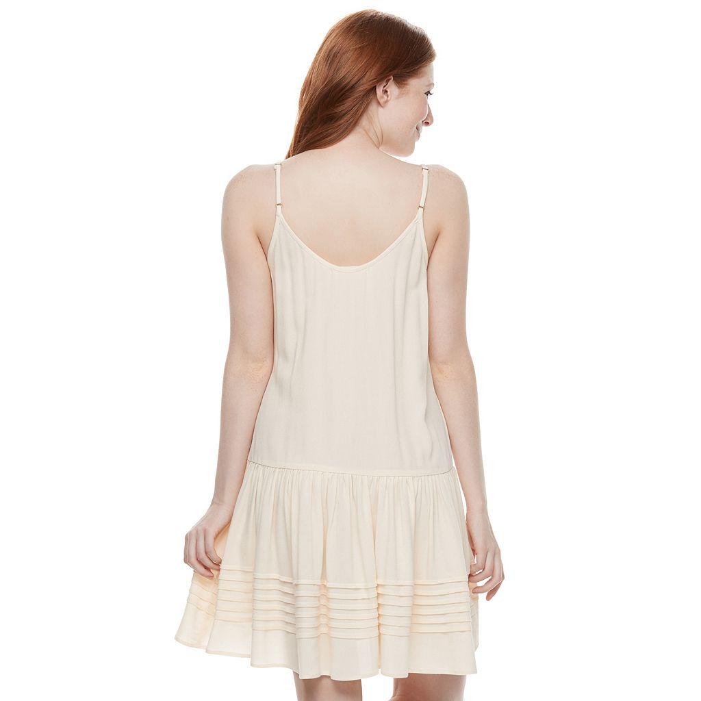 Juniors' Mason & Belle Button Front Pintuck Dress