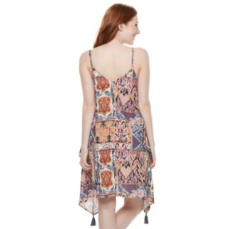 Juniors' Mason & Belle Handkerchief Hem Slip Dress