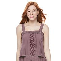 Juniors' Mason & Belle Embroidered Crochet Trim Tank