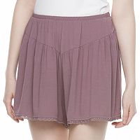Juniors' Mason & Belle Embroidered Hem Shortie Shorts