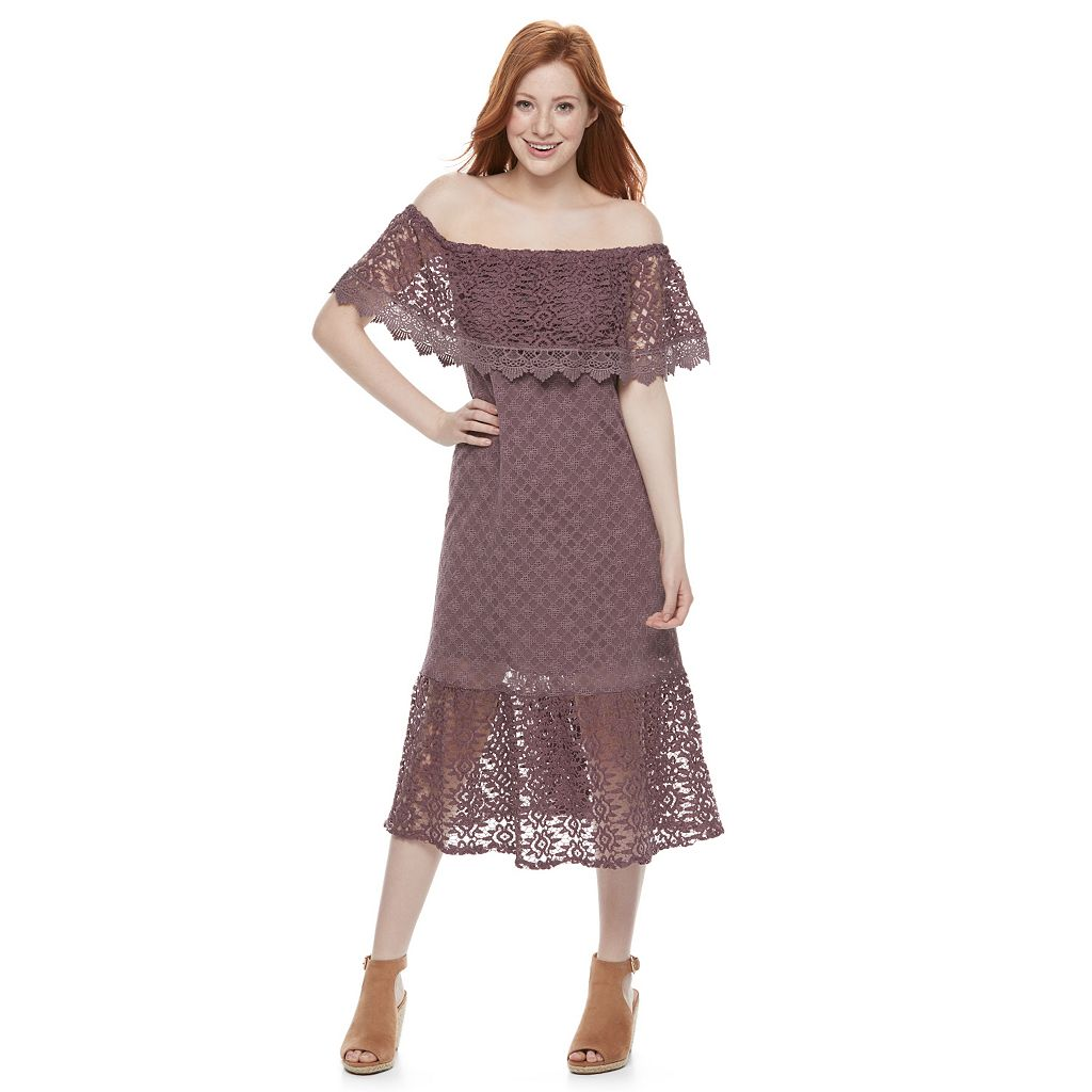 Juniors' Mason & Belle Crochet Off Shoulder Midi Dress