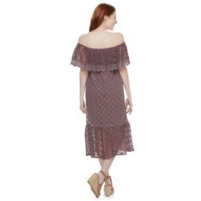 Juniors' Mason & Belle Crochet Off Shoulder Midi Dress