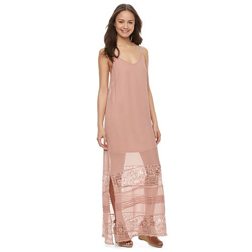 Juniors' Mason & Belle Crochet Inset Slip Maxi Dress