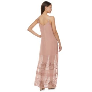 Juniors' Mason & Belle Crochet Inset Slip Maxi Dress