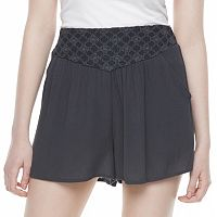 Juniors' Mason & Belle Embroidered Gauze Soft Shorts