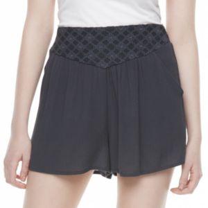 Juniors' Mason & Belle Embroidered Gauze Soft Shorts