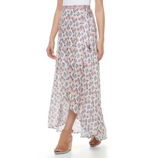 Juniors' Mason & Belle Print Wrap Maxi Skirt