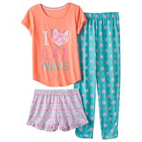 Girls 4-16 SO® 3-pc. Graphic Pajama Set