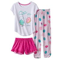 Girls 4-16 SO® 3-pc. Sprinkle Donut Pajama Set