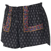 Juniors' About A Girl Print Embroidery Shortie Shorts