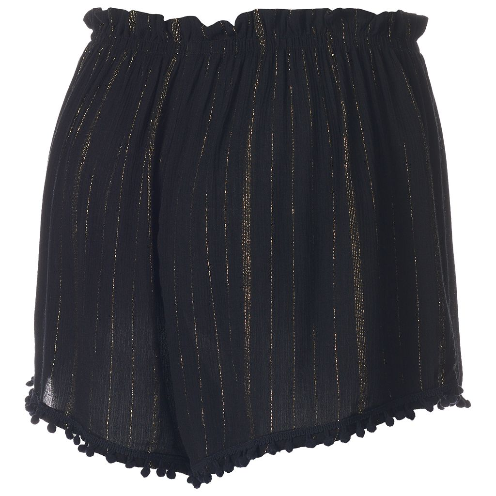 Juniors' About A Girl Metallic Stripe Shortie Shorts