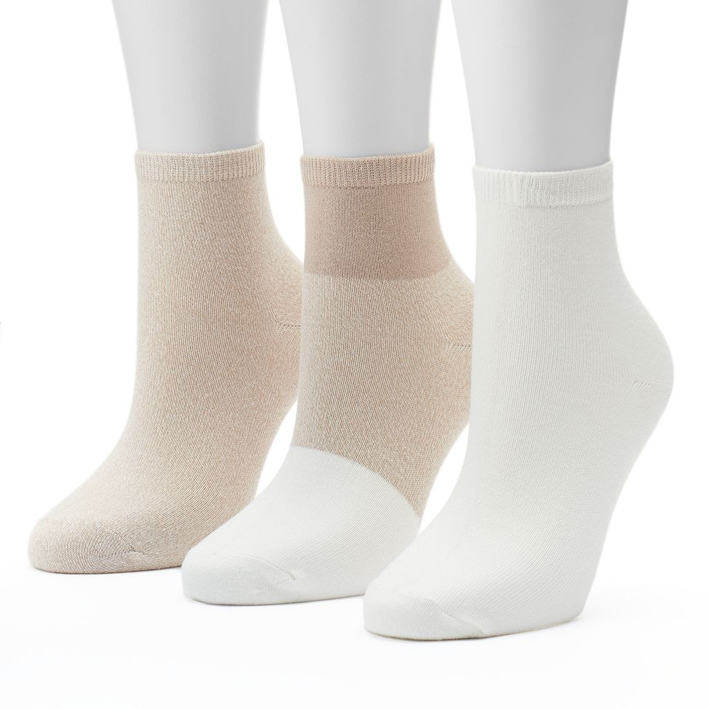 Women's SONOMA Goods for Life™ 3-pk. Colorblock Ankle Socks